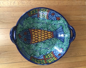 Large Hand Painted Pottery Bowl