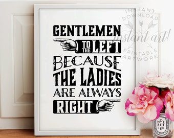Bathroom sign PRINTABLE,funny wall art,gentlemen to the left,bathroom art,bathroom sign,funny bathroom art,bathroom wall decor,WC sign