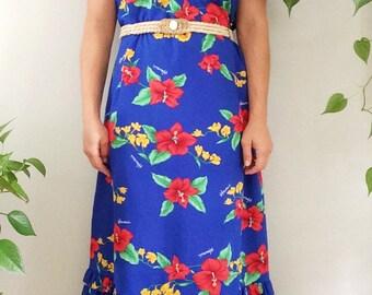 Vintage 1970s Boho Maxi Dress/Hawaiian Floral Dress/Hibiscus Print Dress/Bohemian Floral Dress/Vintage Tropical Dress/Vintage MUMU