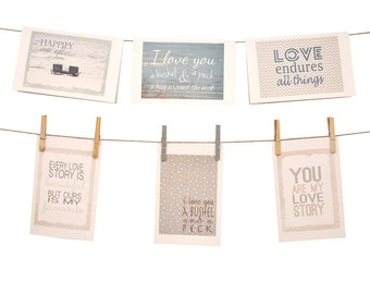 Words of Love Stationery  - Blue - Set of 6 cards - 5-1/2 x 8-1/2 - Envelopes Included