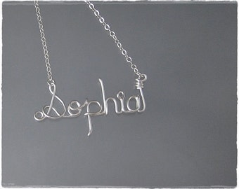 Sophia Wire Word Name Pendant Necklace