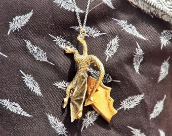 The Conquered Dragon, Brass Dragon Pendant, Brass, Golden Brass, Jewelry, Necklace, Dragon Necklace, Golden jewelry