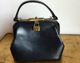 1950's JANA Gold Trimmed Kelly Bag w/Mirror and Attached Coin Puses