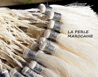 lot of 2 PomPoms silk 100% SILK TASSEL crafts Moroccan + - 15cm white