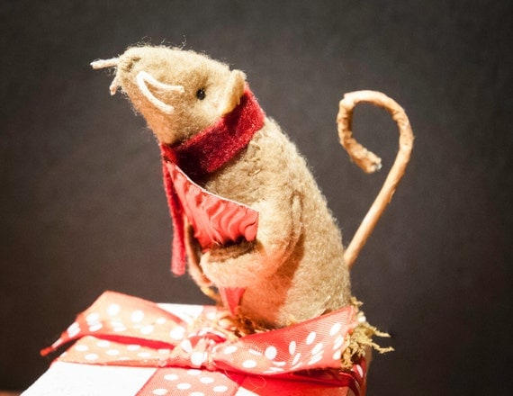 Vintage Christmas Mouse on a Tiny Wrapped Package