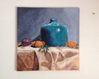 Still life painting, original acrylic painting, a green vase, 50x50cm stretched canvas
