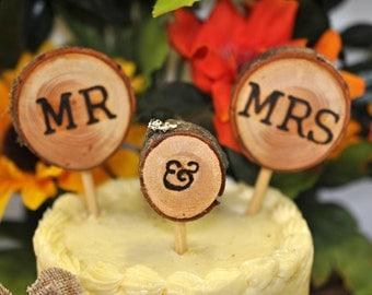 Rustic Wedding Cake Topper, Wood Slice Wedding Cake Topper, Mr and Mrs Wedding Cake Topper, Mr and Mr Cake Topper, Dr and Dr Cake Topper