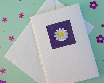 Birthday Card, wife, sister, daughter, girlfriend, for her, mum, friend, daisy on purple, modern, contemporary, cute, recycled envelope