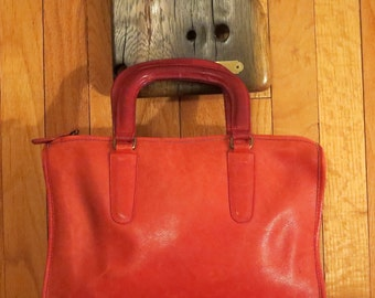 Spring Sale Coach NYC Red Leather Slim Satchel Large Style No. 9430 - IPad Electronic Notebook Case-VGC- Made in New York City U.S.A.