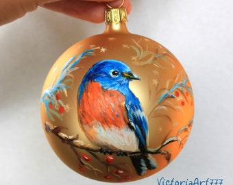 Hand painted Christmas Glass ornament Eastern Bluebird