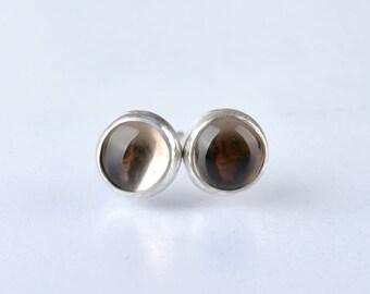 Smoky Quartz Stud Earrings, Smokey Quartz Earrings, Chocolate Brown Gemstone Jewelry, Sterling Silver, single earring for man woman