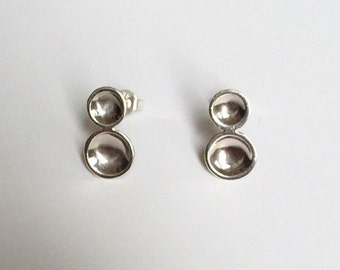 DOUBLE DOT EARRINGS - Sterling Silver Circle Drop Earrings - Silver Dome Earrings