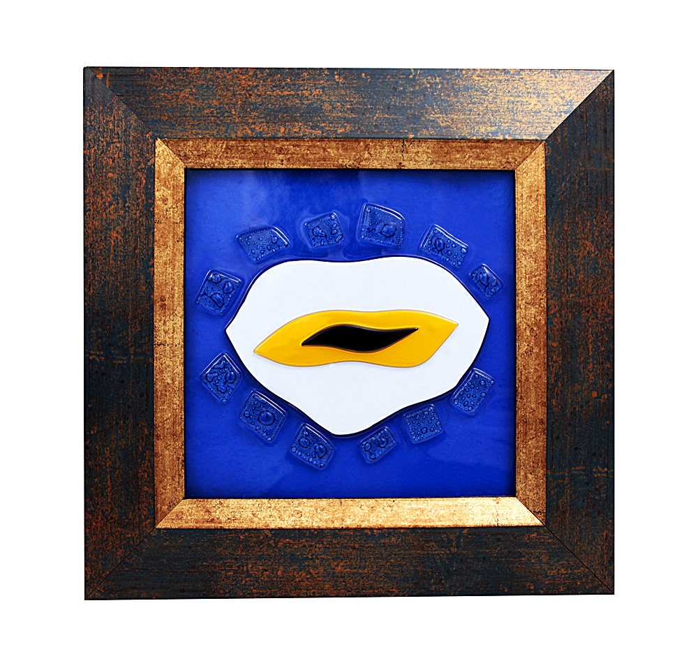 Fused Glass Wall Art: Evil Eye Fused Glass Wall Art Hanging FZF002 By GoodLucktoAll