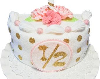 Handmade white/gold half birthday Cake Set. Felt Cake, baby shower gift,photo prop, birthday cake girls, 1/2 birthday, Birthday photo prop