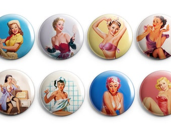 """8 Classic Pinup Girls buttons  - Set of Eight 1.25"""" Pinback Buttons, Magnets, Flair,  stocking stuffers, pin-up girls, vintage pinup buttons"""