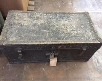 Vintage Foot Locker Trunk with Army Platoon Papers from 1951