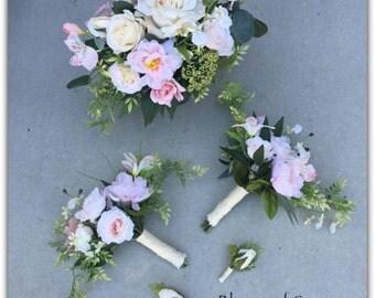 Pink bouquet (set) , whimsical, forest roses, bride bouquet. Wedding bouquet.