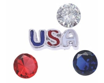 USA Patriotic Floating Charm