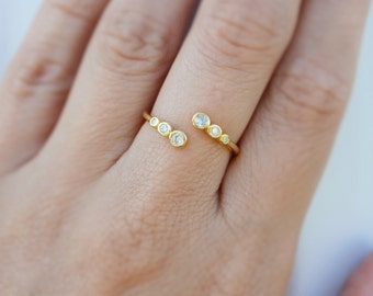 Three cz band open ring. Sterling silver cz adjustable ring. Sterling silver 18K gold plated cz band adjustable open ring. Stacking rings.