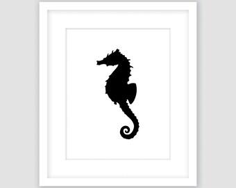 Black Seahorse on White Print, Nautical Wall Art, Beach Decor, Modern Art, Instant Download, DIY, Printable