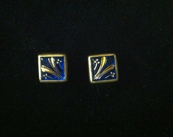 Pair of Antique Cufflinks – Blue Glass Links with Gold Painted Flowers