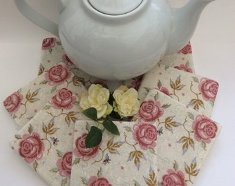 Set of 2 Marble Coasters ~Emma Bridgewater Rose and Bee/Floral/Pink
