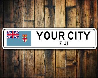 Fuju Flag Sign, Fiji Souvenir, Fiji Gift, Country Souvenir, Room City Sign, City Souvenir - Custom Quality Aluminum Sign