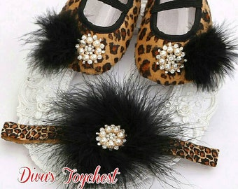 Leopard Baby Shoes Matching Headband-Baby Shower Gift-Cotton Baby Crib Shoes-Baby Girl Gift Set-Leopard Headband-Newborn Baby Gift-