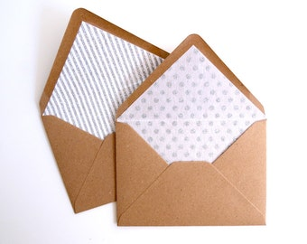 Patterned Glitter Lined Envelopes. Pack of 10