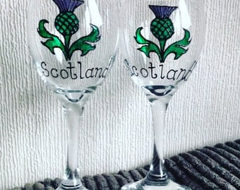1 Thistle Wine Glass / Hand Painted Glass / Thistles / Scotland / Scottish Gifts / Plants / Flowers / Glass Painting / Thistle Glass