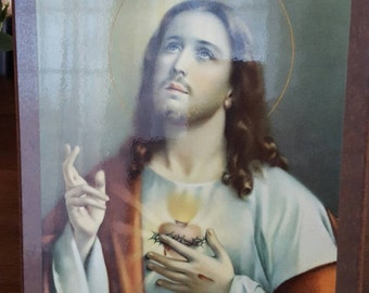 Vintage picture of the Sacred Heart of Jesus, Particle board, Decoupage
