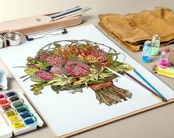 Bottlebrush & Orchids - MOUNTED, Fine Art Print