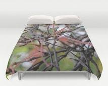 Fall Twigs, Duvet Cover,Brown, Green,Grey,Botanical Modern Bedding,Bedroom Decor,Home Accessories,Bedroom Art,Designer Cover,Interior Design