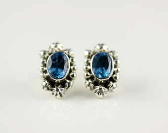 Native American Indian Jewelry Handmade Sterling Silver Blue Topaz Post Earrings