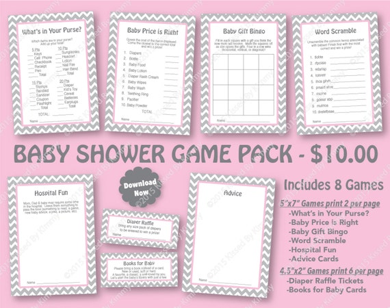 Pink gray baby shower game pack 70 off printable by for Baby shower decoration packs