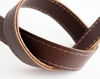 Dark brown leather straps / handles, at 2 cm width by 40-80 cm long for bag, replacement strap, genuine leather