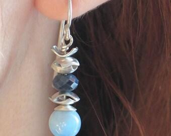 Sterling silver blue sapphire earrings. 925 silver aquamarine earrings. Dangle earrings. Gift for her. Gemstone earrings. Gemstone jewelry
