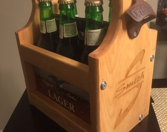 Wooden beer tote with opener