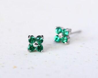 Tiny Emerald Flower Earrings 925 Sterling Silver May Birthstone Stud Earrings