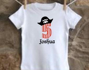 custom personalized boys birthday shirt pirate vinyl
