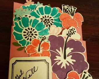 Handmade Get Well, get well card, blank get well, flowers, blank note card, handmade card