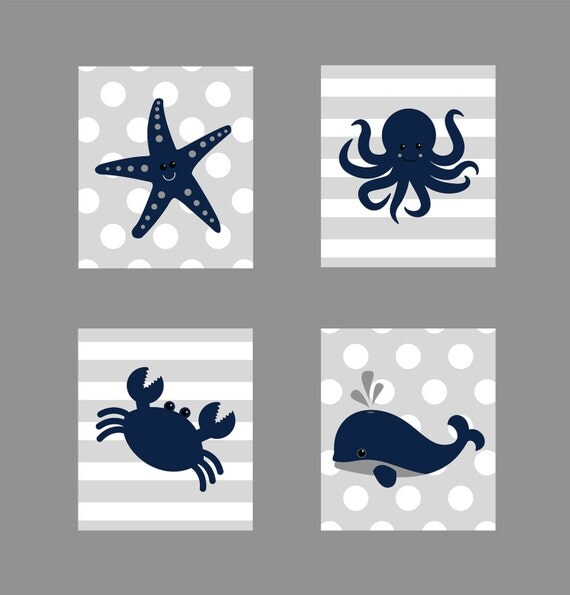 nautical prints customize your colors starfish octopus crab whale