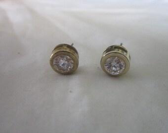 Vintage Gold Tone Large  Faux Diamond Rhinestone Pierced Stud Earrings