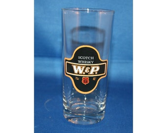 Vintage W & P Scotch Whiskey Tall Rocks Glass Reims glassware made in France Barware Memorabilia Bar Collectible Breweriana