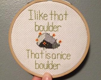 I Like That Boulder Finished Cross Stitch