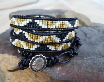 Leather Seed Bead 4 Wrap Bracelet with Silver Button Closure