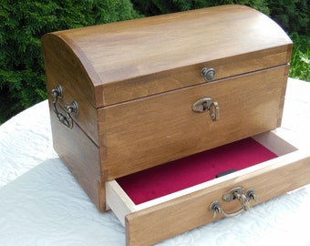 Hand made, woodwork, pirate chest, jewelry chest, treasure chest, strongbox