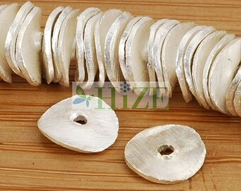 HIZE BB151 925 Bright Sterling Silver Wavy Disc Chip Spacer Beads 8mm (32)