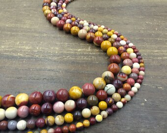 Natural Round Mookaite Jasper Beads Smooth Multicolor Gemstone Loose Beads Semi-precious Agate Stone Jewelry Making 4-12mm Full Strand 16""