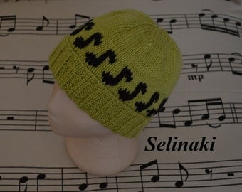 Knit Music Notes Green Hat Beanie
